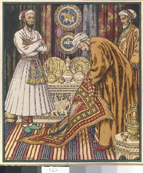 Prince Ali buying a carpet. Illustration for Arabian Fairy Tales