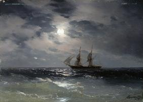 Aivasovski , Sailing Ship in Moonlight
