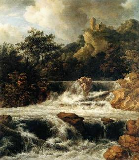 Waterfall with mountain castle
