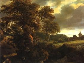 Hill landscape with oak