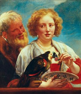 A young woman with an old mann and a parrot,