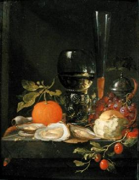 Still Life of Oysters, Grapes, Bread and Glasses on a Ledge