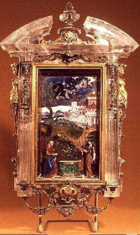 Jacques Byliveldt (1550-1603) and Bernadino Gaffuri  - Christ and the Samaritan, pietre dure panel by Cristofano Gaffuri (d.1626), set in a rock crystal fr