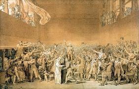 The Tennis Court Oath, 20th June 1789, 1791 (pen washed with bistre with highlights of white on pape