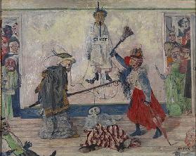 Skeletons Fighting Over a Hanged Man