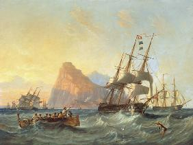 Warships Under Sail at Gibraltar
