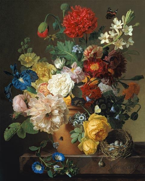 Flower Still Life on a marble ledge