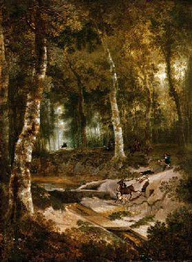 Forest landscape with stag hunt