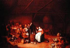 Peasants feasting in a Country Inn