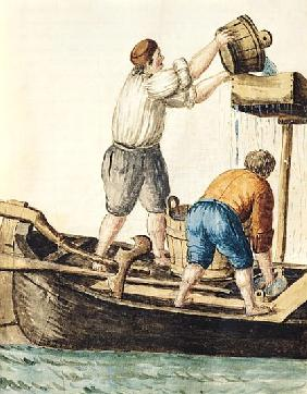 Boatmen Pouring Fresh Water into the Pipelines