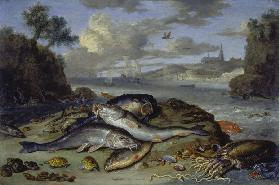 Still Life with Fish and Sea Animals in a Coastal Landscape