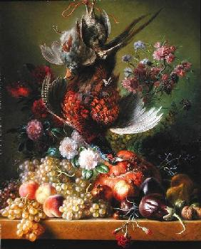 Still Life with pheasant and flowers