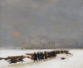 The War of 1870-71: An Infantry Column on their Way to a Raid, 1872 (oil on canvas)