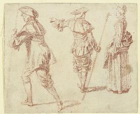 Two Pilgrims and a Standing Woman in Profile