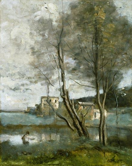 Jean-Baptiste-Camille Corot - Pescadores y casas