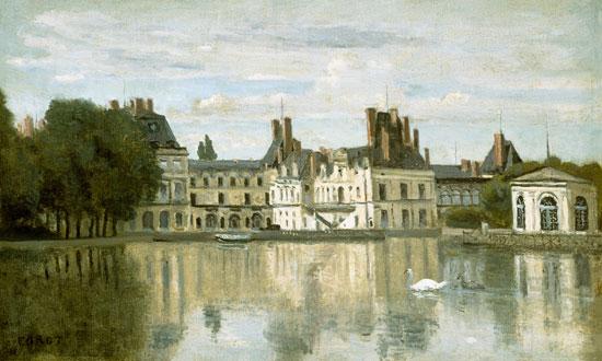 Jean-Baptiste-Camille Corot - Vista del Castillo Fontainebleau.