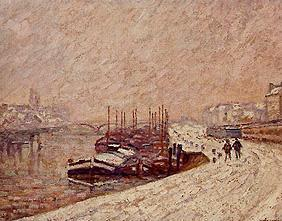 Barges in the snow