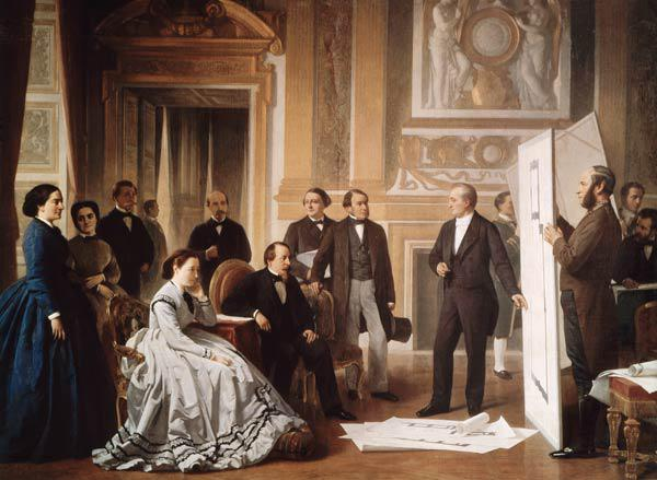 Louis Visconti (1791-) Presenting the New Plans for the Louvre to Napoleon III (1808-73)