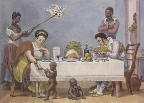The Dinner, a white couple being served and fanned by black slaves, from 'Voyage Pittoresque et Hist