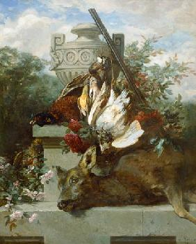 Hunting still life with birds, deer and flowers