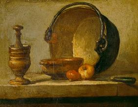 Still life with pestle, bowl, two onions, pan and