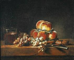 Still Life of Peaches, Nuts, Grapes and a Glass of Wine