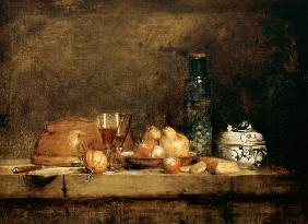 Jean-Baptiste Sim�on Chardin - Still Life with Fruits and olive glass