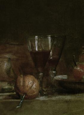 Still life with olive glass