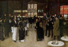 The Boulevard at Night, in front of the Theatre des Varietes, c.1883 (oil on canvas)