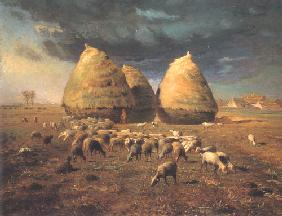 Autumn, the haystacks