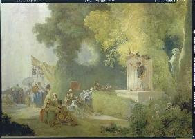 The feast in the park of St. Cloud. Detail: Theatr