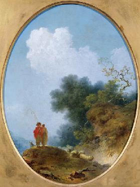 A Shepherd Playing the Flute Whilst a Peasant Girl Listens