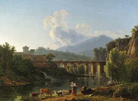 Roman landscape with bridge