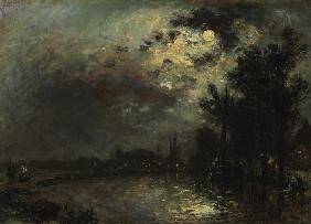 View on Overschie in Moonlight