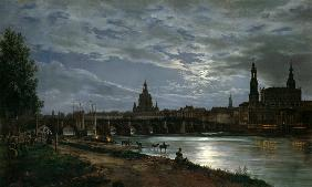 Johan Christian Clausen Dahl - Look at Dresden at full moonlight