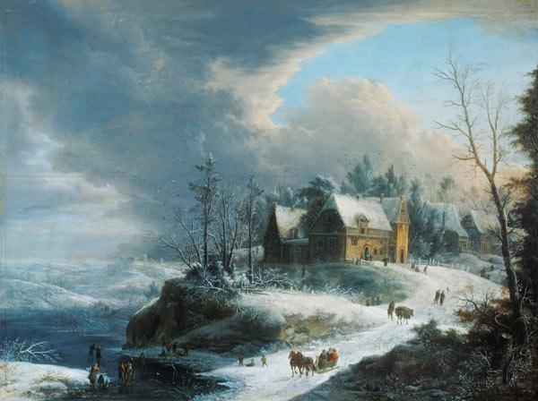 Winter landscape with a small village over a river