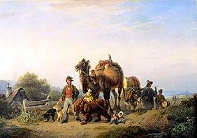 Itinerant people with camel, Äffchen and dancing b
