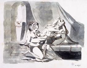 Erotic scene of a man with two women