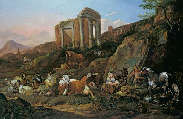 Farm animals in a Classical landscape
