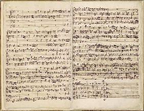 Pages from Score of the ''St. Matthew Passion'', 1727 (pen and ink on paper)