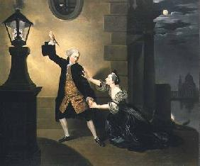 David Garrick (1717-79) as Jaffier and Susannah Maria Cibber (1714-76) as Belvidera in 'Venice Prese