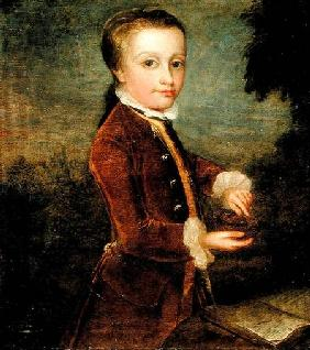 Portrait of Wolfgang Amadeus Mozart (1756-91) aged eight, holding a bird's nest