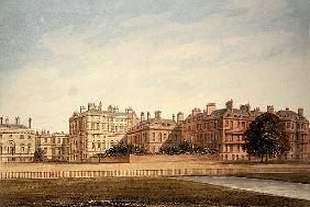 The Treasury and houses in Downing Street from St. James''s Park