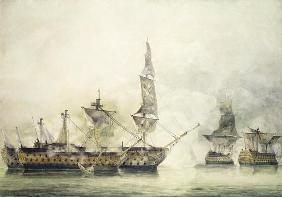 H.M.S. Victory at the Battle of Trafalgar, 1805, (w/c)