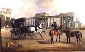 Mr. Massey Stanley with cabriolet and hacks at Hyde Park Corner