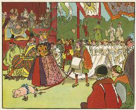 The revels at Kenilworth (colour litho)