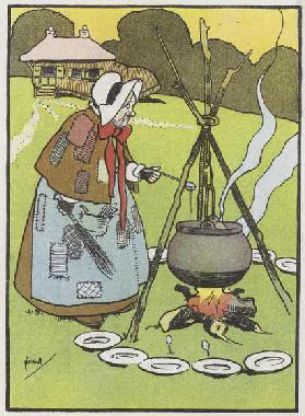 Cooking the broth (colour litho)