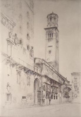 Piazza dei Signori, Verona (pencil & w/c on paper)