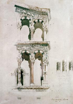 Detail of the facade of San Michele in Foro, Lucca, 1845 (w/c on paper)