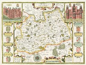 Map of Surrey; engraved by Jodocus Hondius (1563-1612) from John Speed''s Theatre of the Empire of G